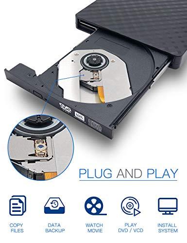 External CD DVD Drive, Haiway USB 3.0 Portable CD/DVD Drive Re-Writer Burner Super-Drive High Speed Data Transfer for Laptop Desktop Apple PC Mac OS Win 7/8/10/ Linux OS(Black) by Haiway88 (Image #1)