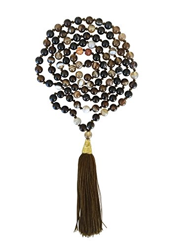 Kuratif Money Magnet Mala Necklace 108 Prayer Gemstones - Buddhist, Tibetan Prayer- Agate