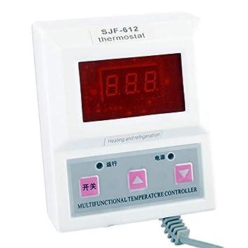 Termostato digital inteligente/controlador de temperatura 1.4 pulgadas LCD de luz roja (blanco)