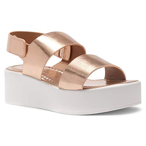 Herstyle Belma Women's Open Toe Ankle Strap Platform Wedge Sandals Rose Gold 7.0