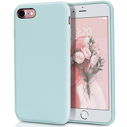 Matte Silicone (iPhone 8 Case, iPhone 7 Case, MILPROX Pretty Series Liquid Silicone Gel Rubber Matte Case with Soft Microfiber Cloth Cushion, Apple 4.7