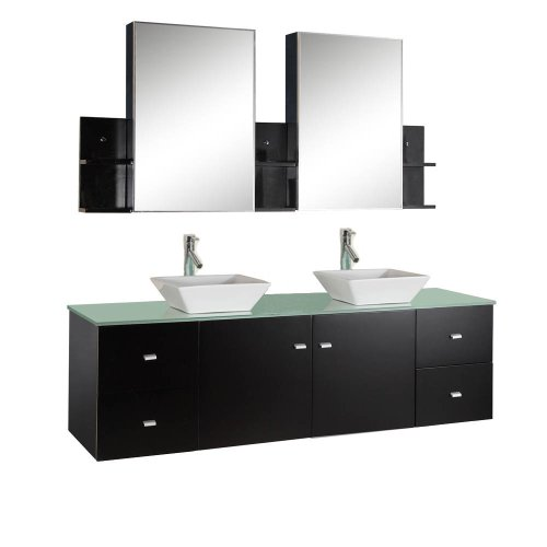 "Virtu USA MD-409-G-ES Clarissa 72"" Double Bathroom Vanity with Aqua Tempered Glass Top and Square Sink with Polished Chrome Faucet and Mirrors, Espresso"
