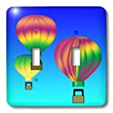 3dRose lsp_28710_2 Graphic Design Colorful Hot Air Balloons with Blue Sky Background Double Toggle Switch