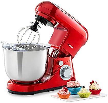 Klarstein Bella Pico 2G - robot de cocina, mezclador de alimentos, 1200 W / 1,6 PS, 6 niveles con efecto pulso, sistema de rotación planetaria, cuenco de 5 litros de capacidad, 3 piezas, rojo: Amazon.es: Hogar