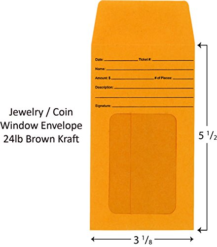 Jewelry/Coin Window Envelope Pack of 500 by Burrell Printing