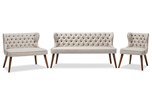 Baxton Studio 3 Piece Sydney Walnut Wood Button-Tufting With Nailheads Trim Livingroom Sofa Set, Light Beige