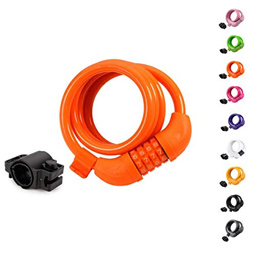 (Titanker Bike Lock Cable, 4-Feet Bike Cable Basic Self Coiling Resettable Combination Cable Bike Locks with Complimentary Mounting Bracket, 4 Feet x 1/2 Inch (Orange))