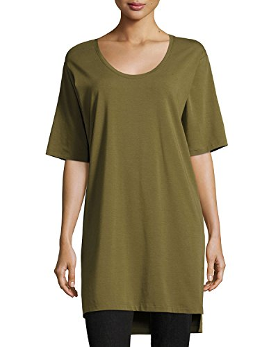- Eileen Fisher Women's Organic Cotton Stretch Jersey Scoop Neck Tunic, Olive, Petite Medium