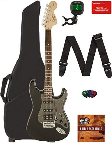 Fender Squier Affinity Series Stratocaster HSS Guitar - Laurel Fingerboard, Montego Black Metallic Bundle with Gig Bag, Tuner, Strap, Picks, and Austin Bazaar Instructional DVD