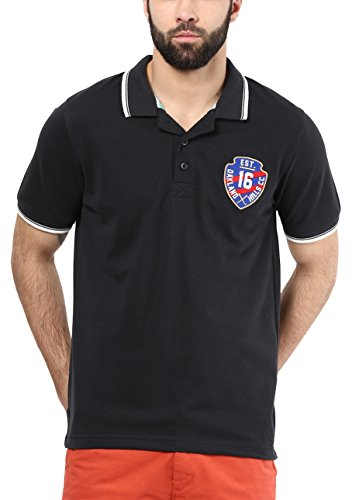 American Crew Men's Polo Tipping Collar With 16th Badge (Black)