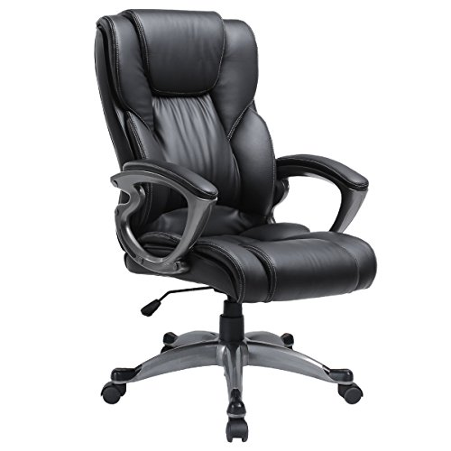 Ergonomic Executive Adjustable Swivel Task Chair High Back Home Office Desk PU Leather Chair with Headrest Black by Myka's