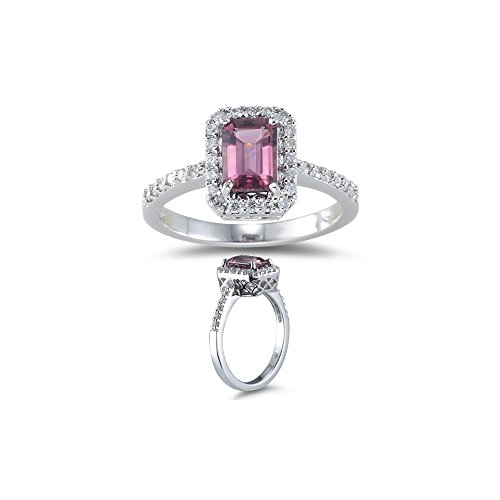1/4 (0.21-0.27) Ct Diamond & 1 Ct AAA Pink Tourmaline Ring in 18K White Gold-7.0 (18k Ring Pink)