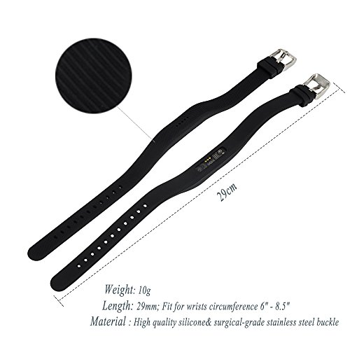 Feskio Accessory Replacement Soft Silicone Wristband for Fitbit Flex 2, Classic Stainless Steel Buckle Design Wrist Strap Watch Band Holder...