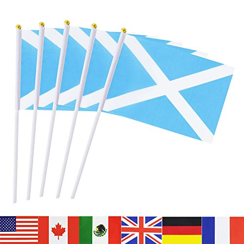 (TSMD Scotland Stick Flag, 50 Pack Hand Held Small Scottish National Flags On Stick,International World Country Stick Flags Banners,Party Decorations for Olympics,Sports Clubs,Festival Events)