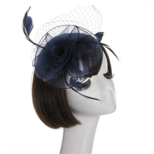 Cywulin Women's Fascinator Hats Mesh Ribbons Feather Wedding Hat Cocktail Tea Party Headwear with Hair Clip for Girls Women (C-Navy)