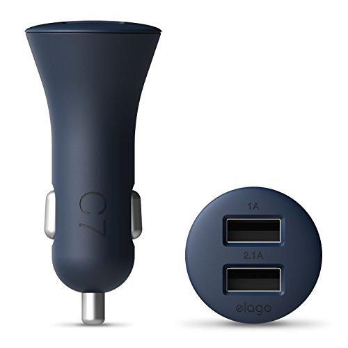 Price comparison product image elago C7 3.1 Amp (2.1 Amp + 1.0 Amp) Dual USB Car Charger for iPhone, iPad, iPad mini, iPod, Galaxy, Nexus, Optimus and Other Device with USB Port (C7 3.1A Dual USB Car Charger) (Jean Indigo)