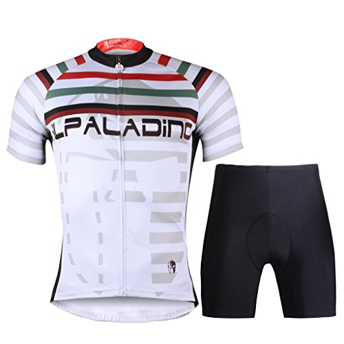 Paladinsport Color Stripe Pattern White Short Sleeve Cycling Clothing for Men And Shorts Set Size - Clothing Liv Brand