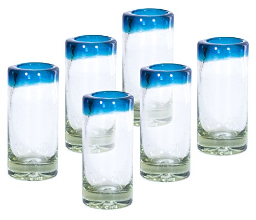 MEXART Artisan Crafted Hand Blown Aqua Marina Rim Recycled Glass Shots Glasses,- Whisky, Vodka, Tequila Shots 2 oz. 'Classic' (set of 6)