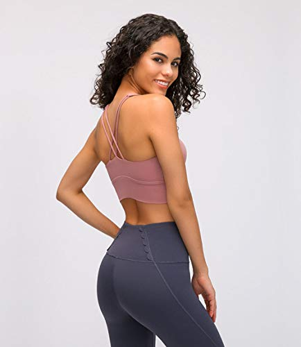 Yoga Fitness Bra Naked-Feel Fabric Double Straps Athletic ...