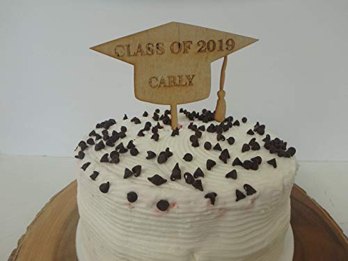 - Personalized graduation hat cake topper, wood engraved picks