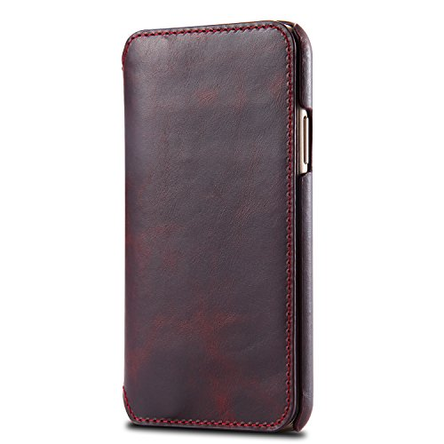 iPhone X Case, Reginn Waxed Leather Wallet Case with [Card Slot] [Cash Pocket] and [Stand Function] [Wireless Charging Compatible] Folio Cover for 5.8 Inch Apple iPhone X (Wine Red) by Reginn (Image #1)