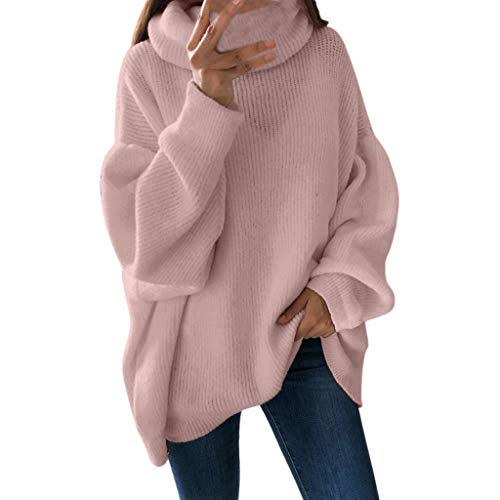 (Loose Solid Color Sweatshirt Cozy Turtleneck Jumpers Pullover Blouse Top Tops Women )