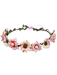 QIXUAN Bohemian Fabric Flower Wreath Garland Seaside Headdress Holiday Hair Accessories Headband