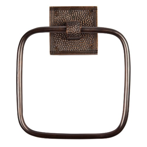 The Copper Factory CF135AN Solid Copper Towel Ring with a Square Backplate, Antique Copper