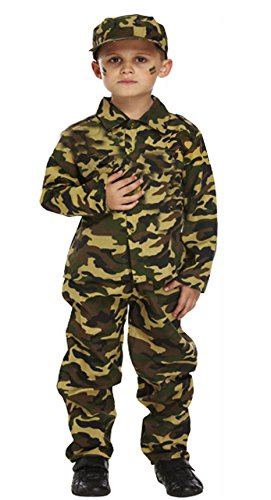 GUBA® Army Boy Kids Soldier Camouflage Fancy Dress Costume Outfit Bullet Belt Dog Tag (4-6 Years, Army Costume Only)