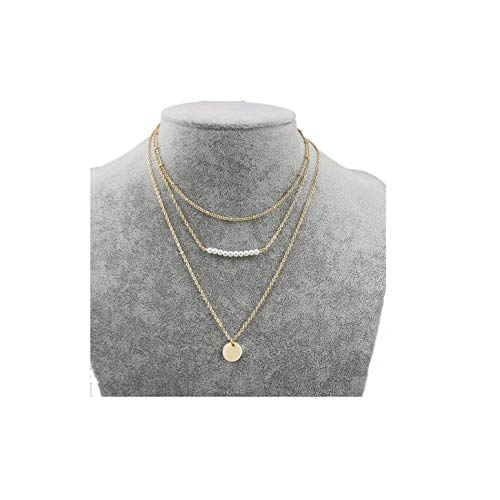 MOCANALA Pearl Layered Choker Necklace, Pearl Bar Disc Coin Pendant Layer Necklace Gold Boho Station Chain Charm Necklace for Women (Pearl Bar) - Coin Pearl Layered Necklace