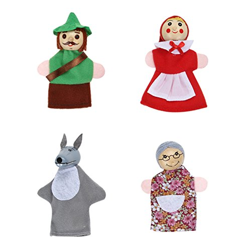 (GreenSun TM 4pcs/Lot Kids Toys Finger Puppets Doll Plush Toys Little Red Riding Hood Wooden Headed Fairy Tale Story Telling Hand Puppets)
