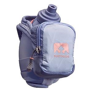 Nathan NS4836 QuickShot Plus 10 oz Handheld Running Water Bottle with Zip-Pocket, Kentucky Blue