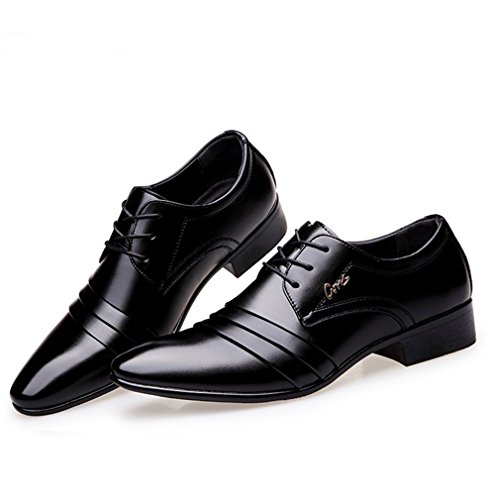 JJyee Men's Formal Oxford Wedding Tuxedo Shoes Lace up Black