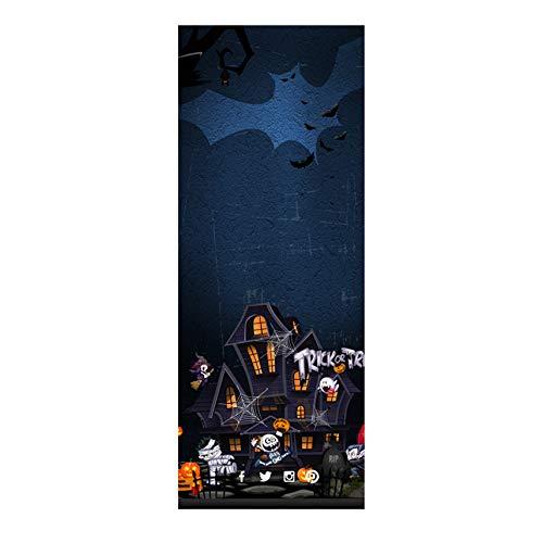 Minions Halloween Wallpaper (Halloween Door Sticker JackoLantern Witch Flying Halloween Wallpaper Murals Self-Adhesive Removable Vinyl Stickers Wall Decal DIY Haunted House Poster Party Supplies 30.3x78.8)