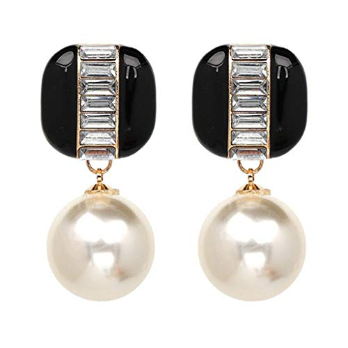SuperLina Big Simulated Pearl Dangle Bridal Earrings for Women Vintage Statement Large Faux Pearl Earrings Fashion - Faux Oval Onyx