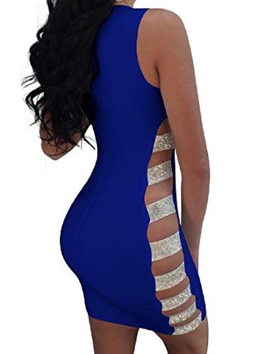 Coolred-femmes Paillettes Manches Nightclub Évidées Sexy Robes Maigres Bleu Saphir