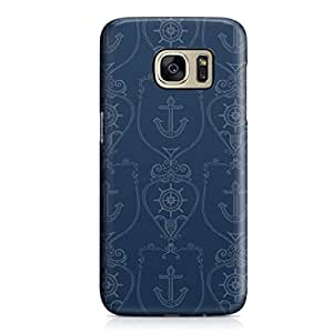 Samsung S7 Case Nautical Logo Pattern Navy Blue Hard Plastic Tough Samsung S7 Cover Wrap Around