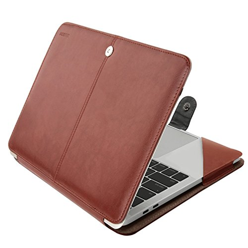 MOSISO PU Leather Case Compatible MacBook Pro 15 Inch 2019 2018 2017 2016 Released A1990 A1707 with Touch Bar, Book Folio Protective Cover Stand Sleeve, Brown