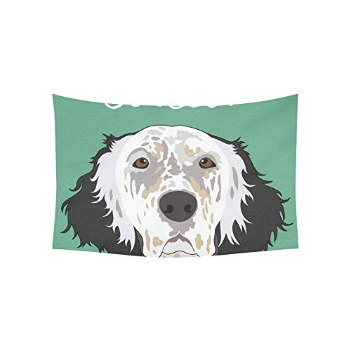 VNASKL Tapestry English Setter Buddy Dog Tapestries Wall Hanging Flower Psychedelic Tapestry Wall Hanging Indian Dorm Decor for Living Room Bedroom 60 X 40 Inch ()