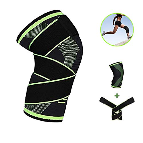 Knee Brace Compression Sleeve with Strap Knee Braces for Women & Men Non Slip Knee Sleeves Support for Running, Crossfit, Weightlifting, Workout, Meniscus Tear, Pain Relief, Injury Recovery, Green