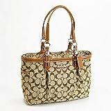 Coach 12cm Signature East West Gallery Book Bag Tote Handbag Toffee