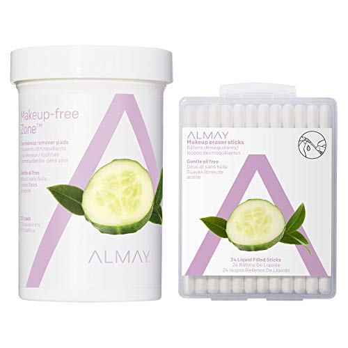 Almay Eye Makeup Remover Pads, Oil-Free 120 & Oil-Free Make-Up Remover Sticks 24ct