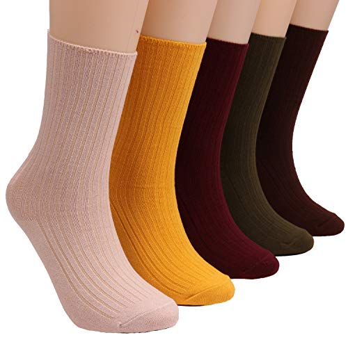 5 Pairs Womens Crew Socks Comfortable Cotton Knit Sock Solid Color Bz3 (pure color)