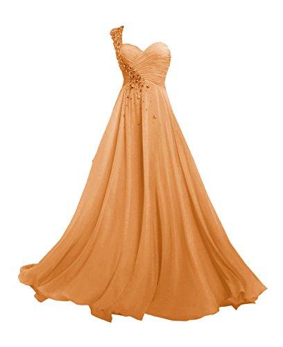 Arancione promenade Donne Chiffon spalla Lungo d'onore damigella vestito Abiti JAEDEN Una da Del fwRxtq7R6