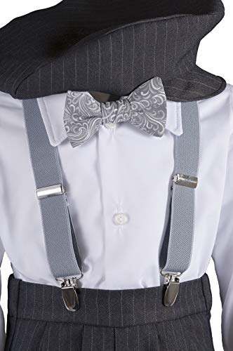 Boys Grey Knicker Set with Grey Paisley Bow Tie in Baby, Toddler & Boys Sizes (8 Boys)