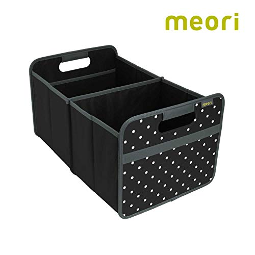 meori Classic Collection Large Foldable Storage Box, 30 Liter / 8 Gallon, in Lava Black with Dots to Organize and Carry Up to 65lbs ()
