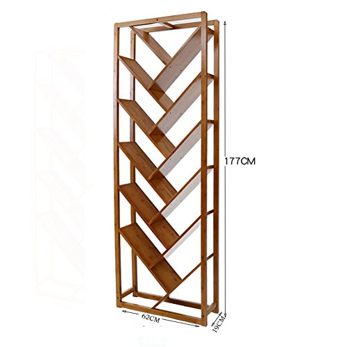 Sustainable Bamboo Media - JX&BOOS Bookshelf,Simple bookcase creative tree shape floor bookshelves office racks modern living room solid wood bookshelf-B 62x19x177cm(24x7x70)