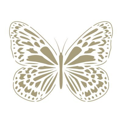 Stencil Mini Deko Vintage Figur 109 Butterfly. Ungefä hre Grö ssen: Stencil: 12 x 12 cm Design: 9 x 6, 9 cm TODO-STENCIL