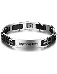 Personalized ID Men Bracelets Stainless Steel Engraved...