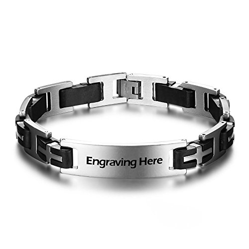 Personalized ID Men Bracelets Stainless Steel Engraved Bangle Bracelets for Mens Jewelry for Boyfriend